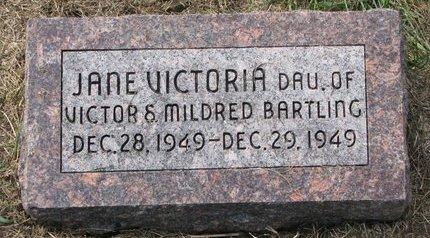 BARTLING, JANE VICTORIA - Washington County, Nebraska   JANE VICTORIA BARTLING - Nebraska Gravestone Photos