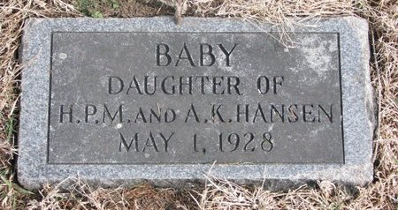 HANSEN, BABY DAUGHTER - Washington County, Nebraska | BABY DAUGHTER HANSEN - Nebraska Gravestone Photos