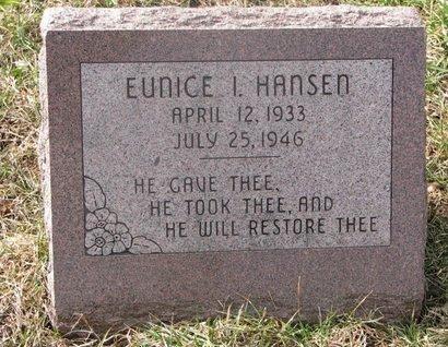 HANSEN, EUNICE I. - Washington County, Nebraska   EUNICE I. HANSEN - Nebraska Gravestone Photos