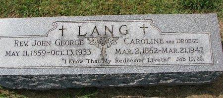 LANG, JOHN GEORGE (REV.) - Washington County, Nebraska   JOHN GEORGE (REV.) LANG - Nebraska Gravestone Photos