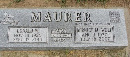WOLF MAURER, BERNICE M. - Washington County, Nebraska | BERNICE M. WOLF MAURER - Nebraska Gravestone Photos