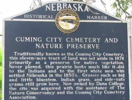 *CUMING CITY, NEBRASKA HISTORICAL MARKER, PART 1 - Washington County, Nebraska | NEBRASKA HISTORICAL MARKER, PART 1 *CUMING CITY - Nebraska Gravestone Photos