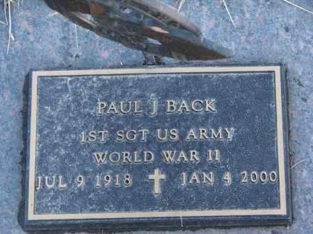 BACK, PAUL J. - Wayne County, Nebraska   PAUL J. BACK - Nebraska Gravestone Photos
