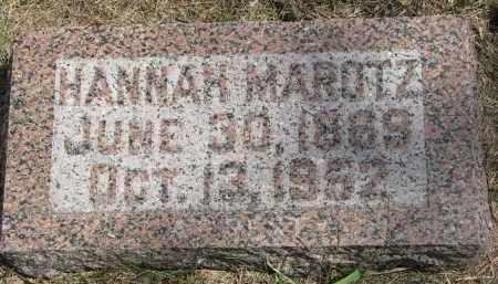 MAROTZ, HANNAH - Wayne County, Nebraska | HANNAH MAROTZ - Nebraska Gravestone Photos