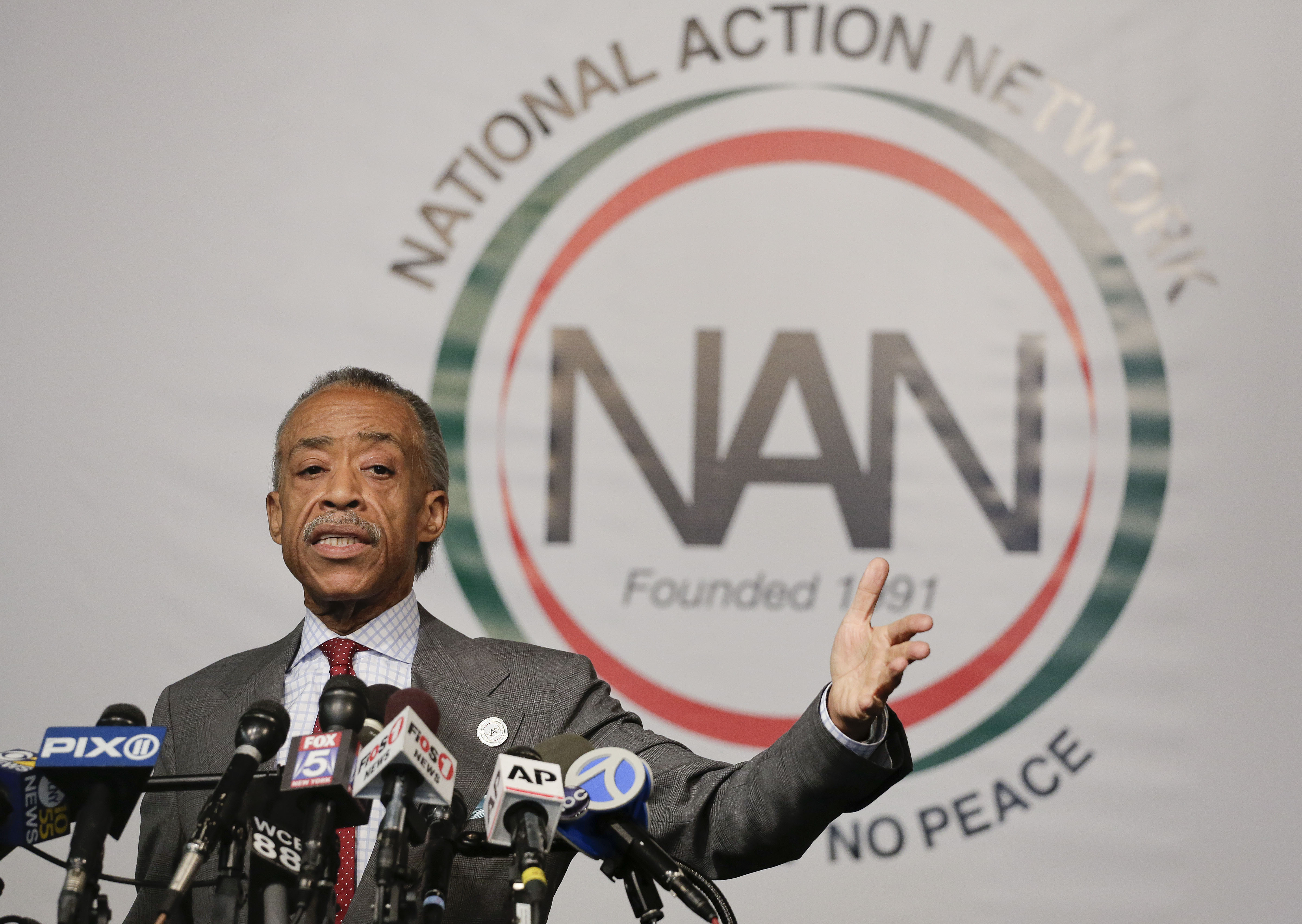 The Rev. Al Sharpton speaks during a news conference, Wednesday, Nov. 19, 2014, in New York.... [+] Sharpton spoke about his plans for thepending grand jury decisions in the deaths of Michael Brown in a St. Louis suburb and Eric Garner in New York and also addressed tax allegations in a New York Times story. (AP Photo/Julie Jacobson)