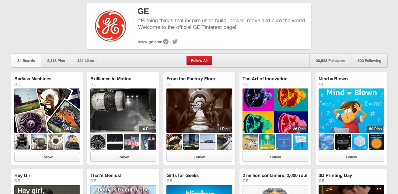 GE Pinterest content strategy