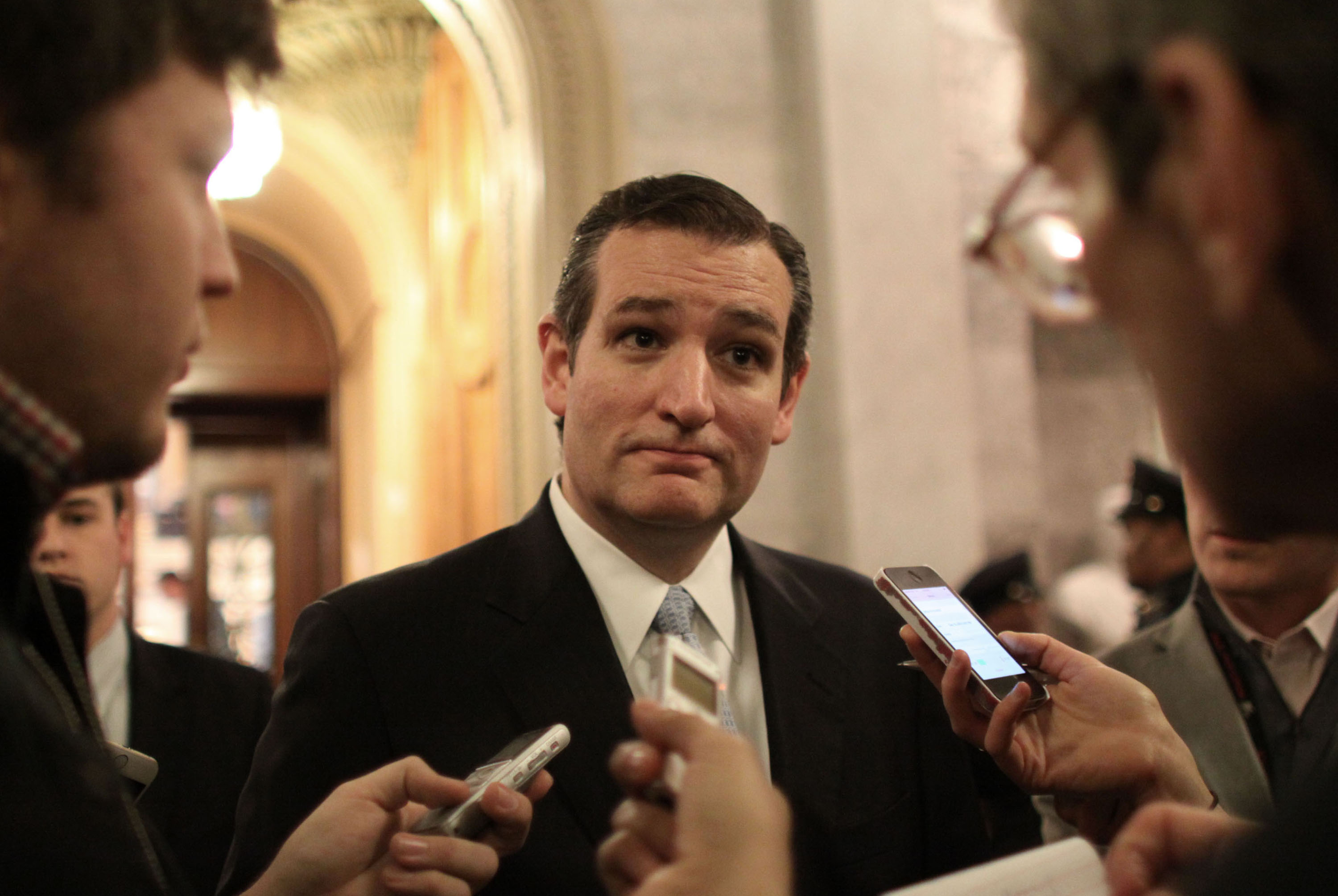 Sen. Ted Cruz (R-TX) talks with reporters after the Senate voted on a $1.1 trillion spending bill to... [+] fund the government through the next fiscal year on on Saturday, December 13, 2014 on Capitol Hill in Washington. (AP Photo/Lauren Victoria Burke)