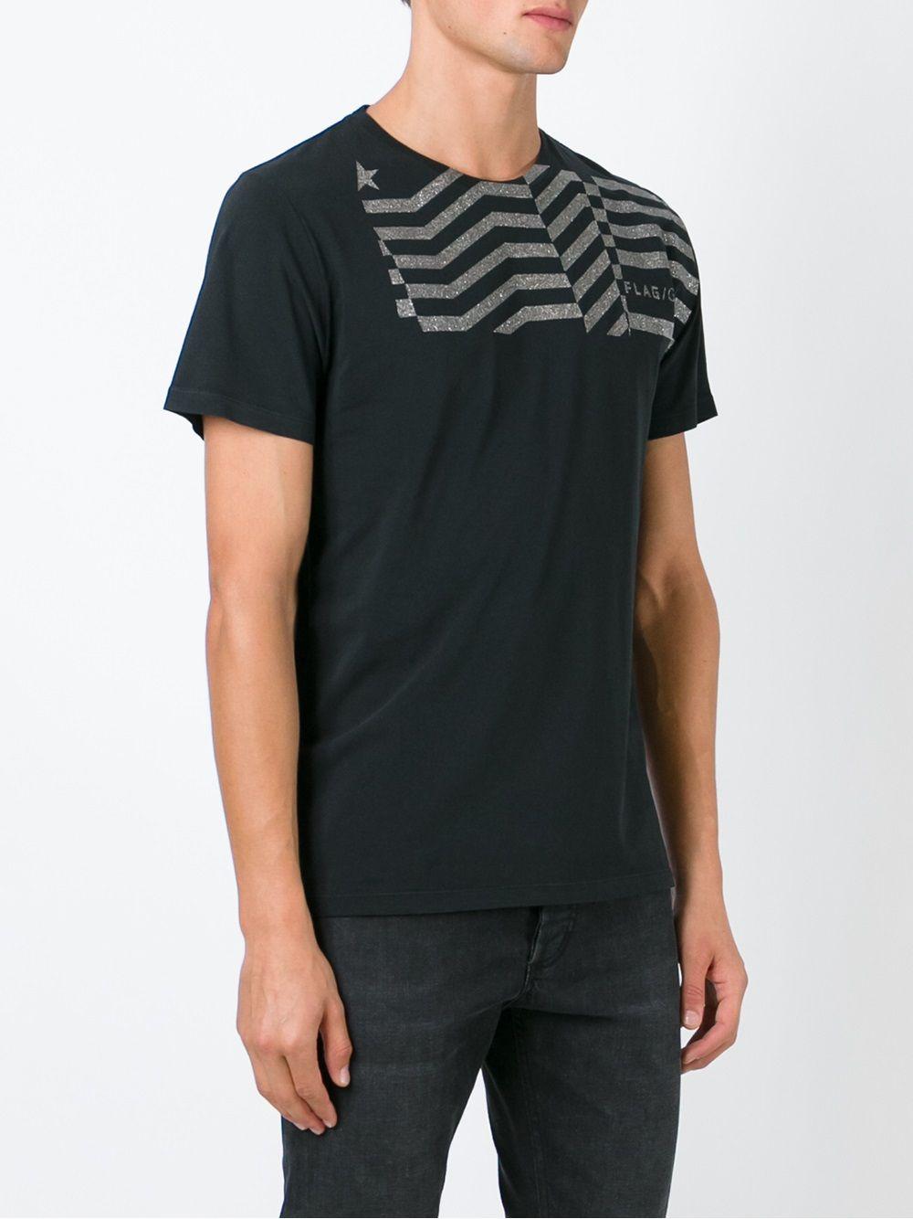 Black cotton gold glitter stripe detail T-shirt   GGDB |  | G27U527.A2NERO