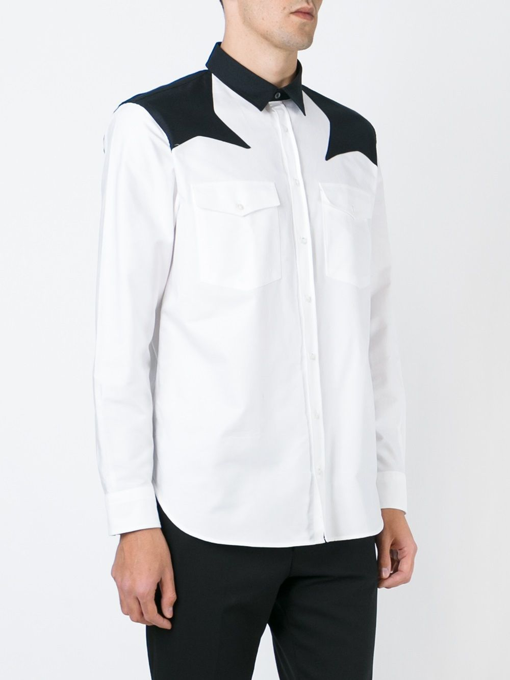 White cotton shirt featuring black star patch on the shoulders MSGM |  | 1940ME14X-154617BIANCO-NERO
