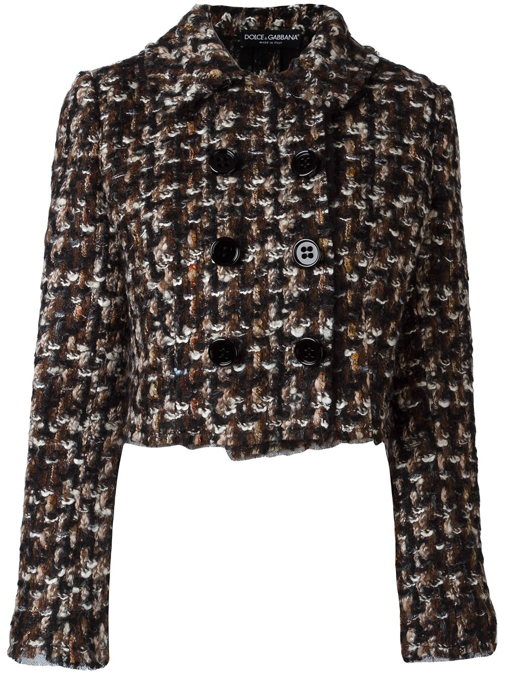 giacca in tweed in misto cotone e lana mohair DOLCE & GABBANA | Giacche | F28M9T-FMME3MARRONE-NERO