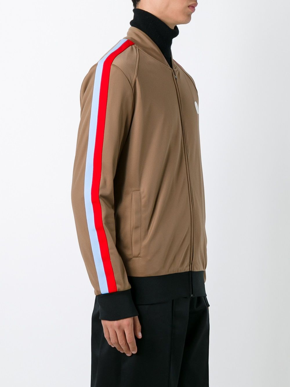 Brown zipped bomber jacket with multicolored details MSGM |  | 2140MM06Y-164703BEIGE