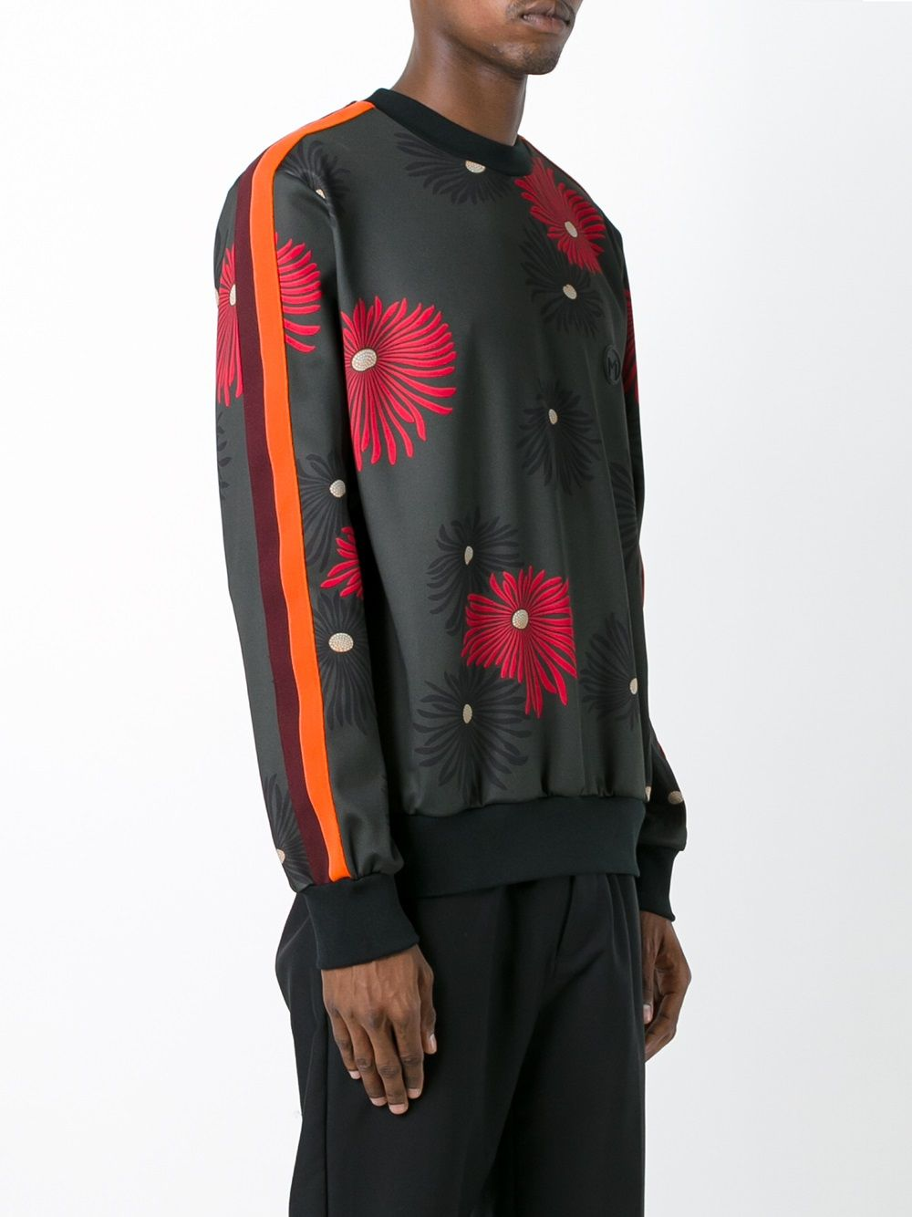 burgundy jersey sweatshirt with orange sleeve bands, all-over red floral print  MSGM |  | 2140MM70Y-164668VERDE-BORDEAUX