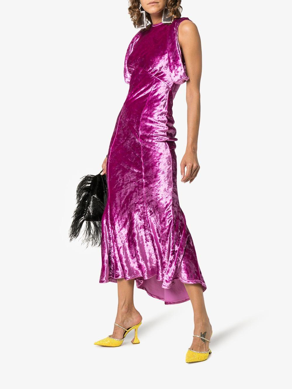 pink velvet sleveless dress with round neck ATTICO |  | ATW18523033