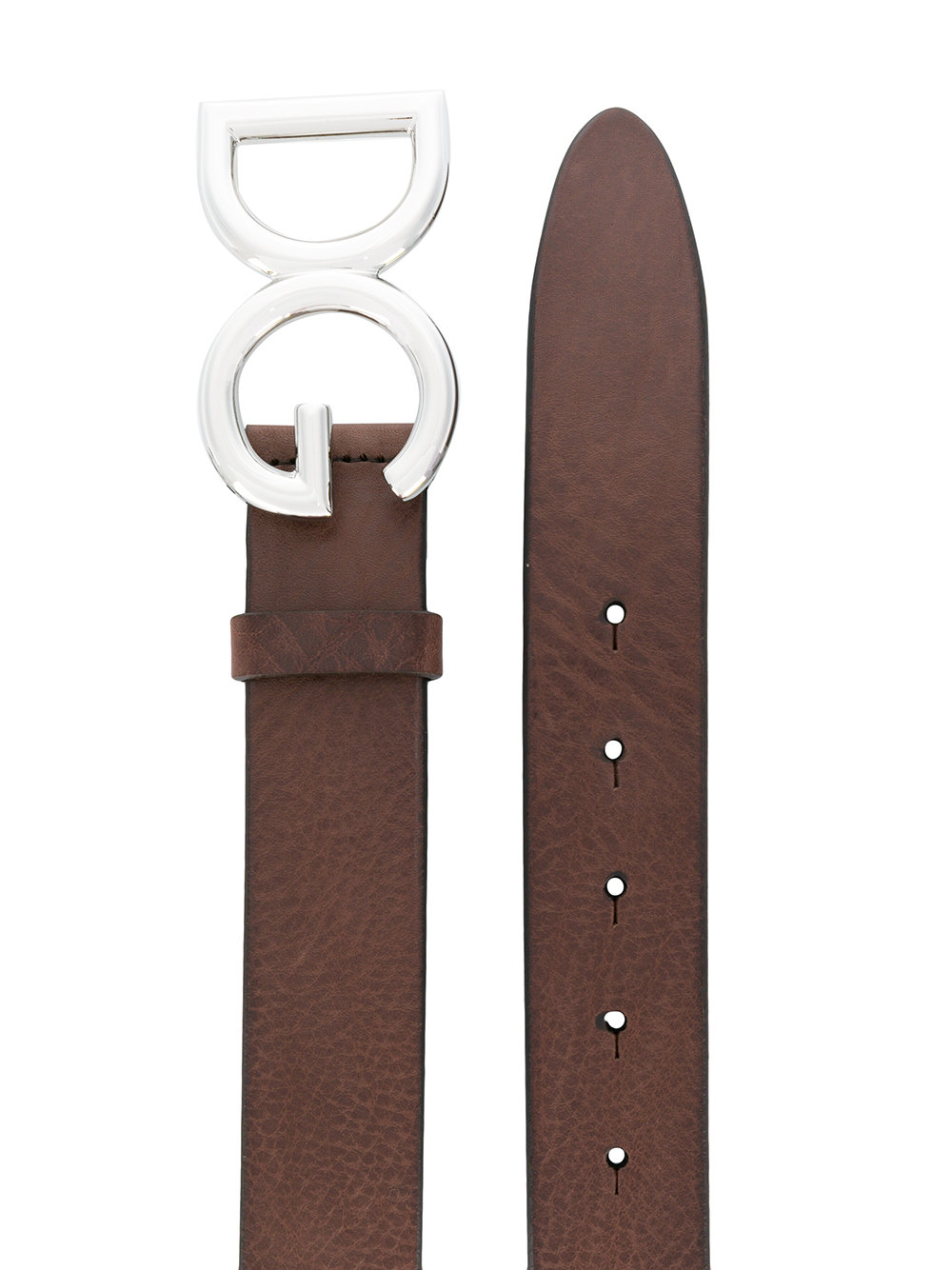Cintura in pelle di vitello marrone con fibbia argentata logata DG DOLCE & GABBANA   Cinture   BC4247-AI8948S087