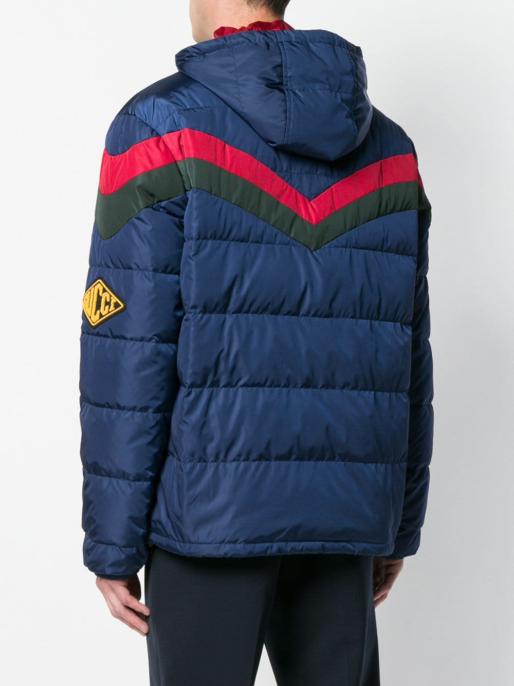 blue feather down jacket with Gucci Chevron red and green stripes GUCCI |  | 522620-Z41904549