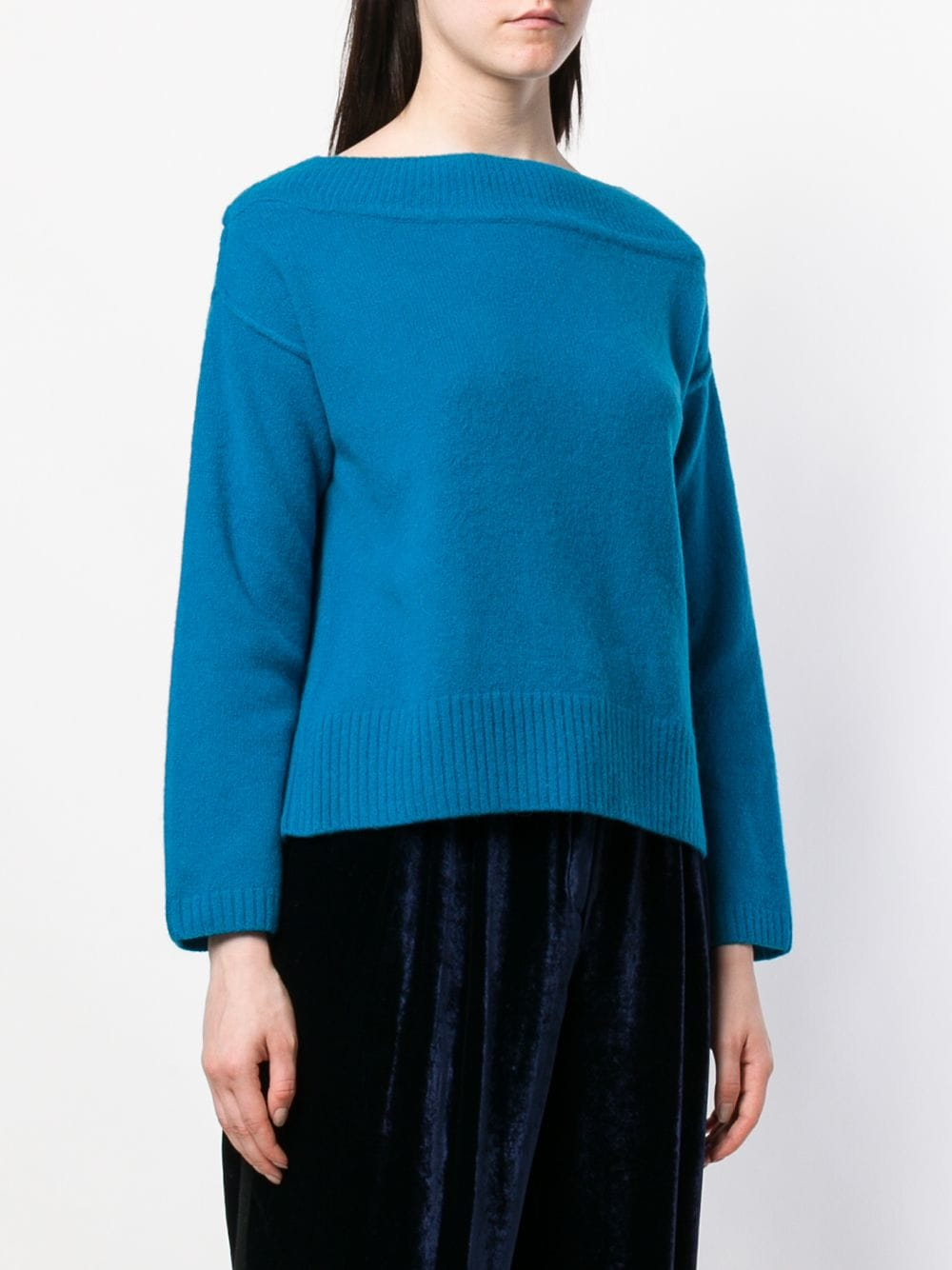 Bright blue virgin wool basic jumper featuring long sleeves FORTE_FORTE |  | 5918COBALTO