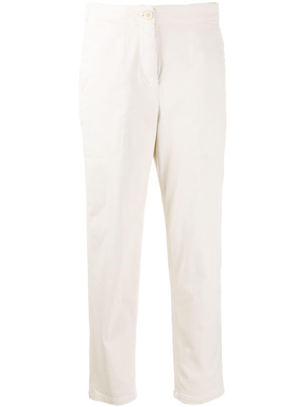 Cream stretch cotton mid-rise utility trousers   ALBERTO ASPESI |  | 0110-E72985043