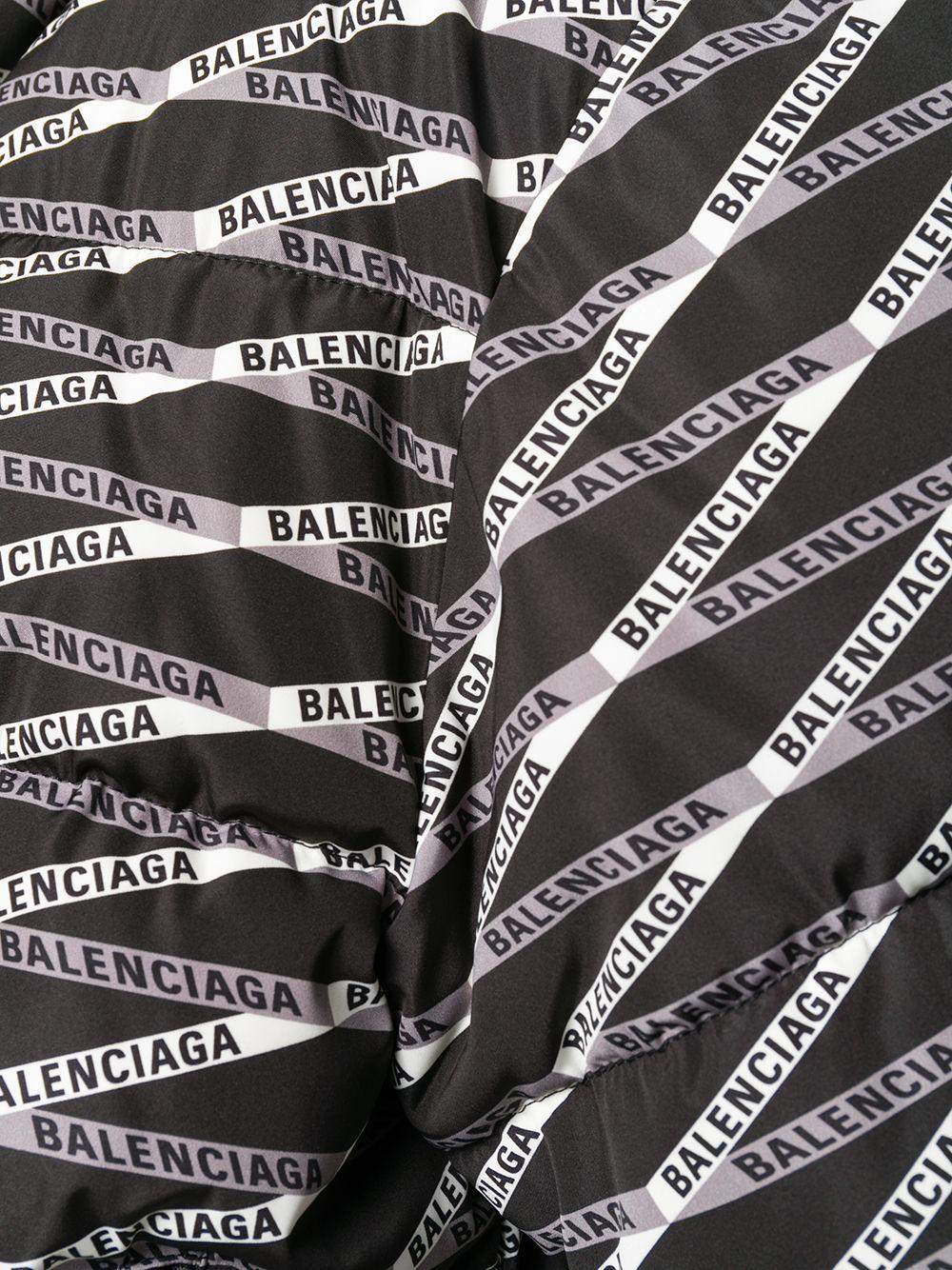 black hooded puffer jacket with all over Balenciaga printed logo BALENCIAGA      556725-TEL211240