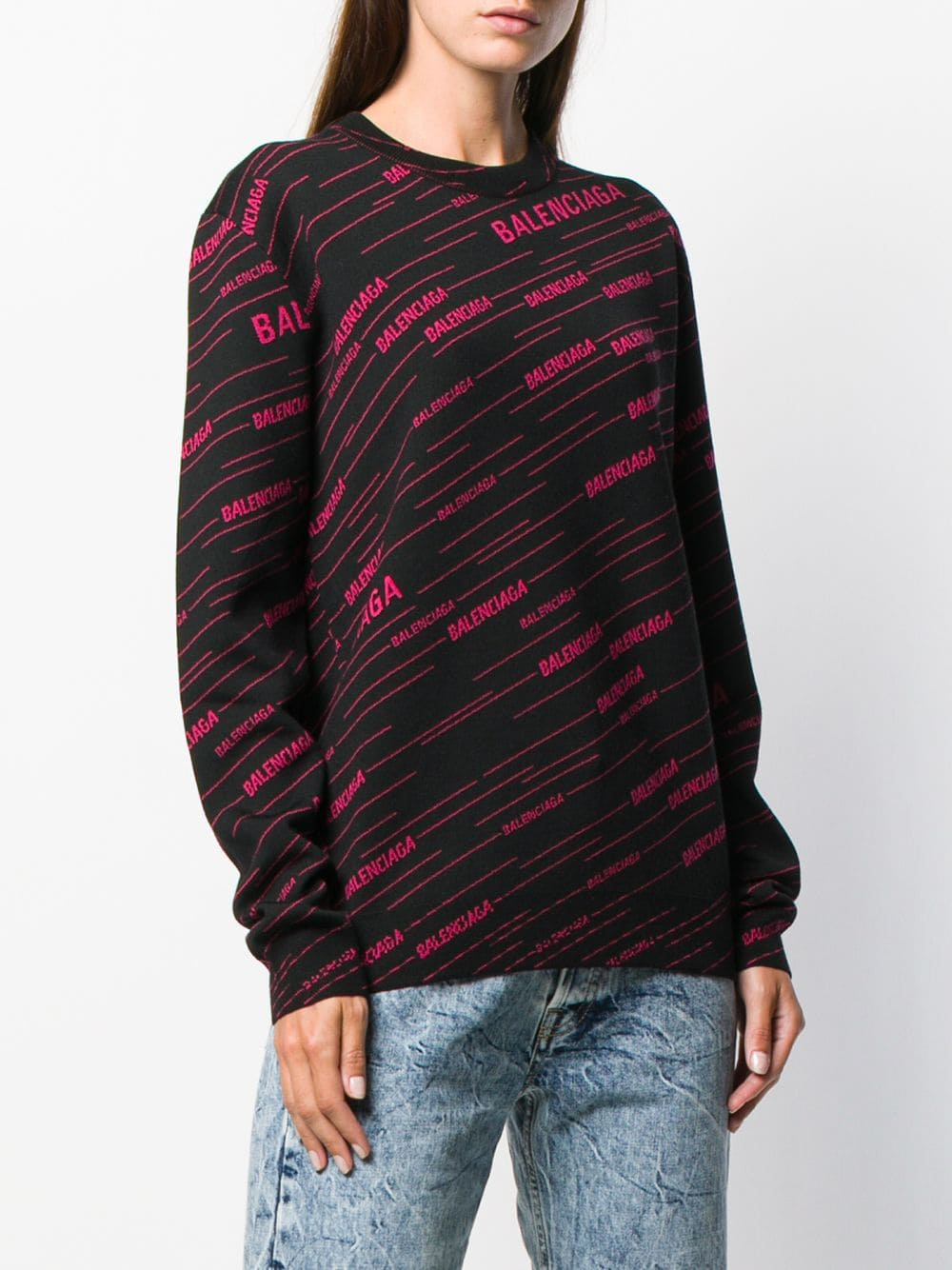 black and raspberry red wool blend jumper with Balenciaga lettering logo all over  BALENCIAGA |  | 583094-T15241092