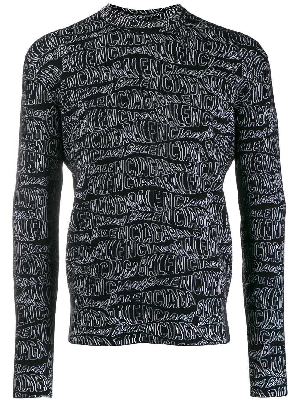 black and white virgin wool blend jumper with Balecniaga logo intarsia all over BALENCIAGA |  | 583154-T15351000