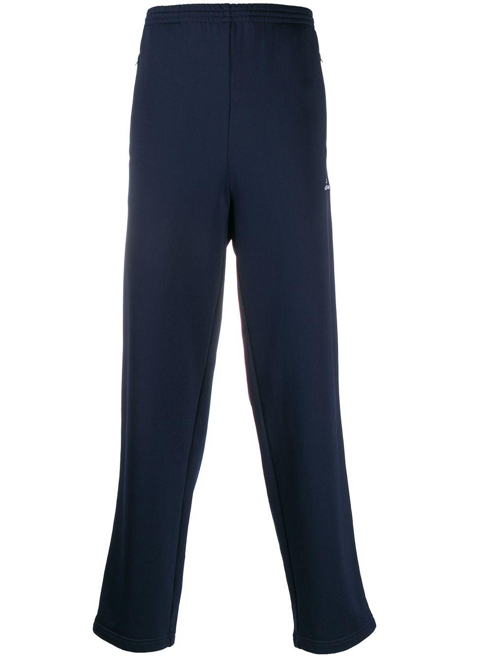 Navy blue cotton blend side stripe track trousers   BALENCIAGA |  | 595007-TGV048502