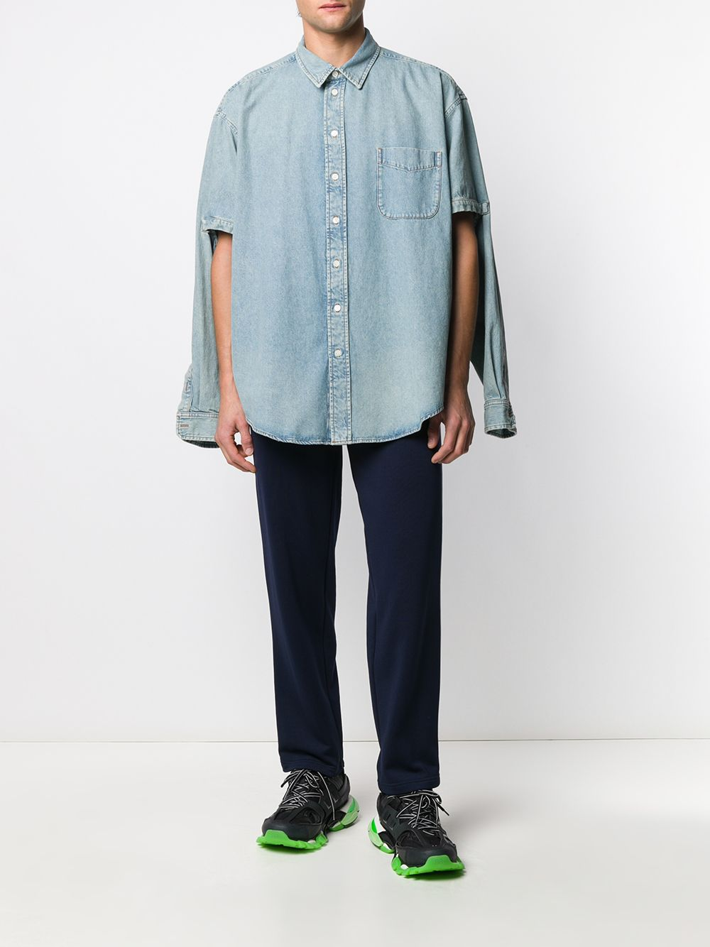 Pantaloni della tuta con banda laterale in misto cotone blu navy BALENCIAGA | Pantaloni | 595007-TGV048502