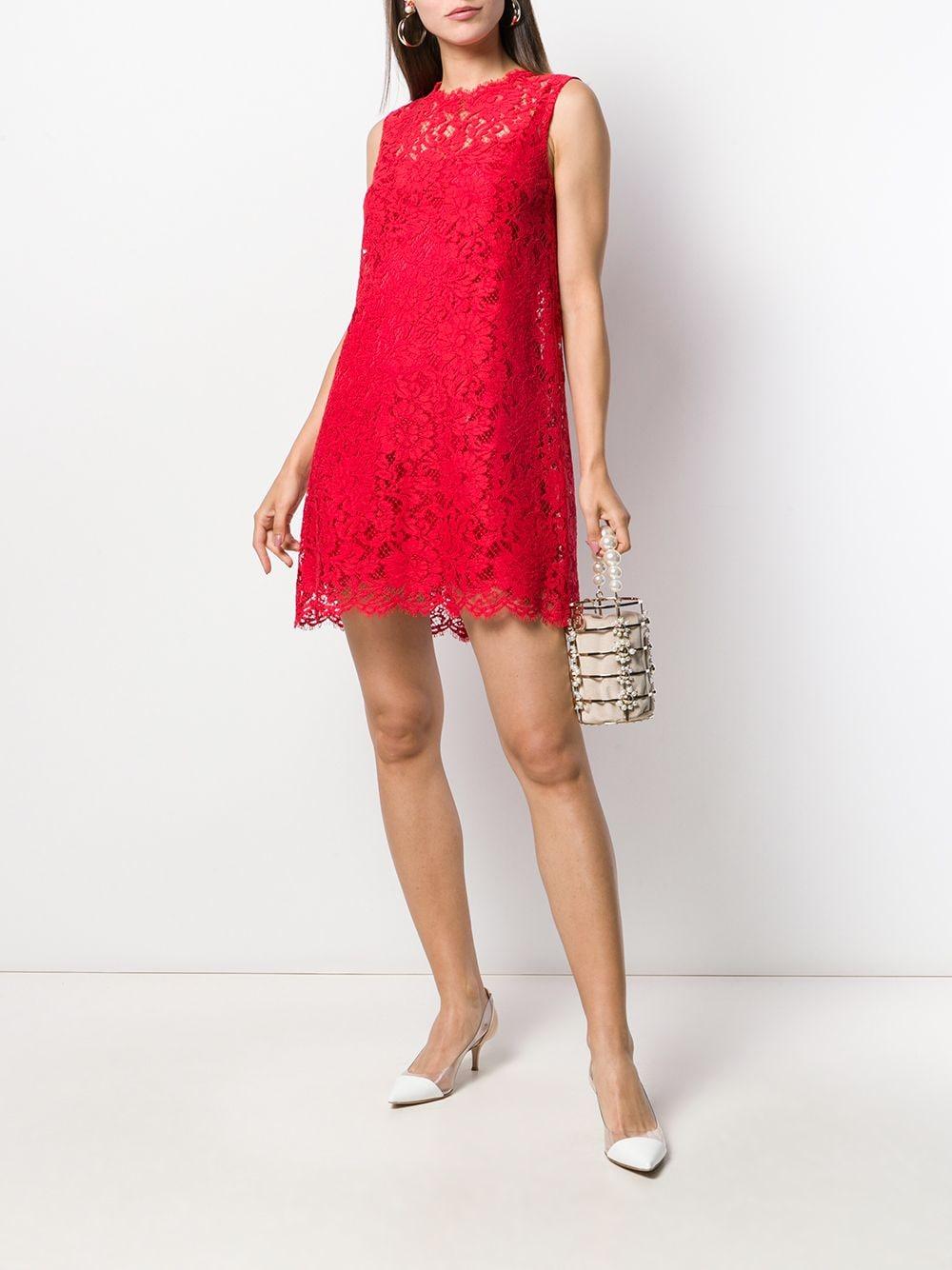 abito corto smanicato in pizzo smerlato e seta rossa con scollo tondo DOLCE & GABBANA   Abiti   F6A6OT-FLM9VR2254