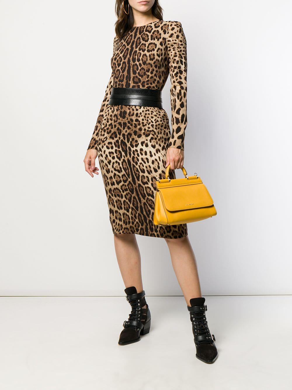 abito in seta aderente al ginocchio in stampa leopardata DOLCE & GABBANA | Abiti | F6B8HT-FSADDHY13M