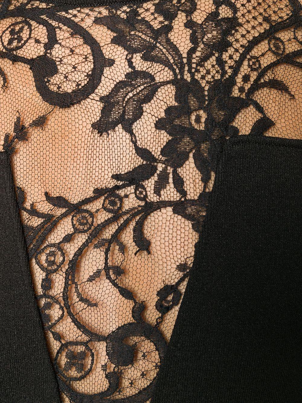 abito nero con scollatura in pizzo GIVENCHY | Abiti | BW20QC4Z5J001