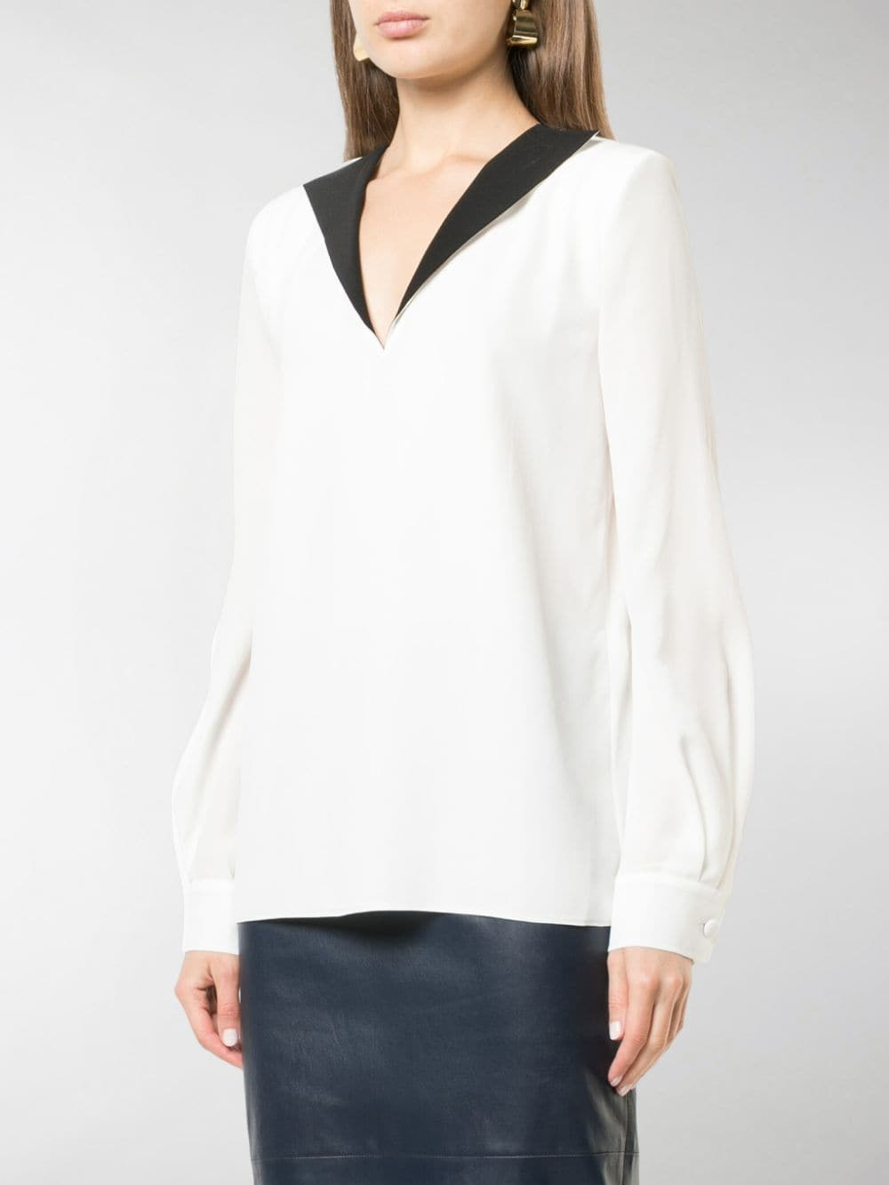 white silk blouse with contrasting black V neck detail GIVENCHY |  | BW60ER10JX116