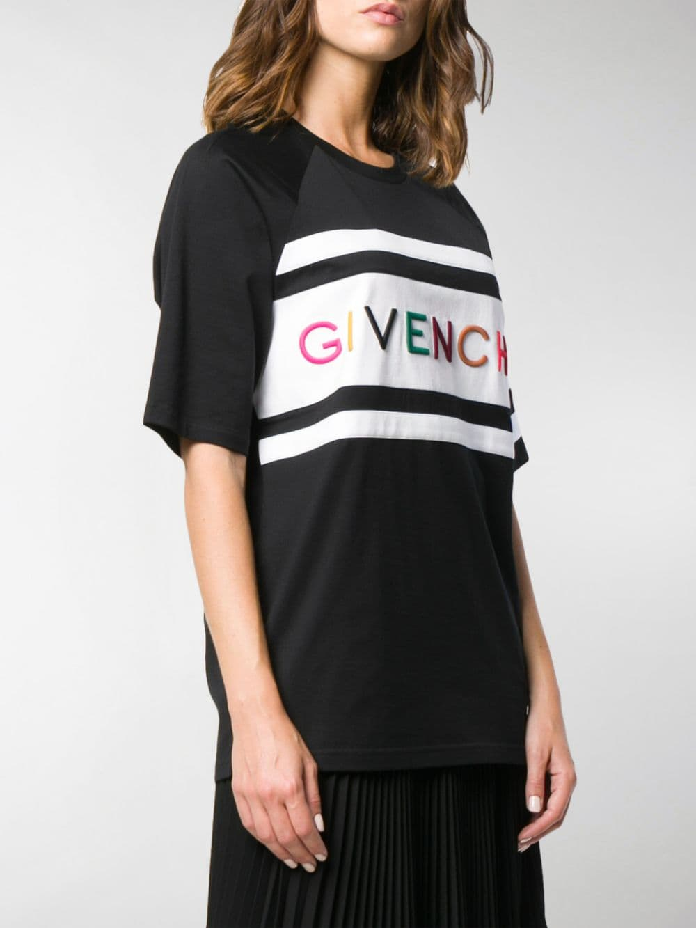 black cotton boyfriend fit Givenchy multicolor logo t.shirt GIVENCHY |  | BW706V3Z1X004