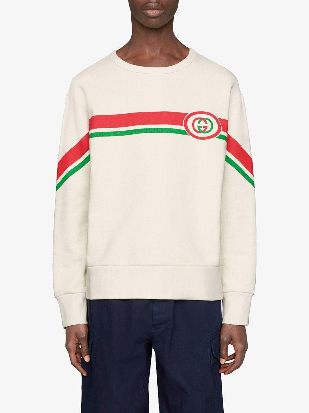 felpa in cotone bianco con bande rosso e verde e logo GG frontale GUCCI | Maglieria Moda | 475532-XJBCM9230