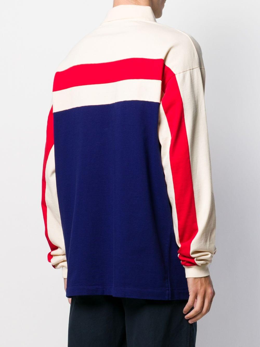 polo in cotone blu, avorio e rosso con logo GG GUCCI | Maglieria Moda | 573262-XJBAD4594