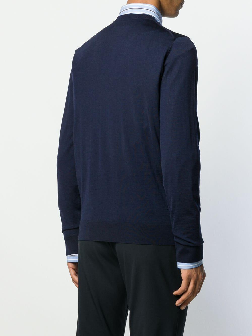 Maglione slim fit in lana blu navy con girocollo GUCCI | Maglieria Moda | 576810-XKAOW4440