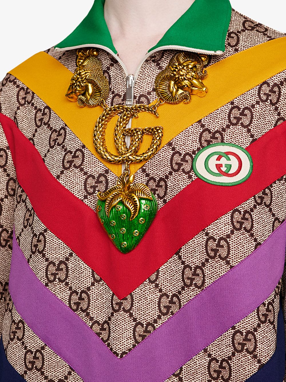 Gucci Supreme all over printed mid-dress with multicolor bands GUCCI |  | 580583-XJBGT2270