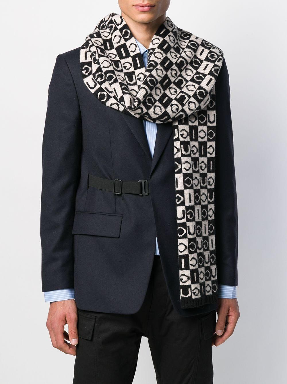 sciarpa in lana pesante a scacchetti bianco nero logati Gucci GUCCI | Sciarpa | 595978-4G2061078