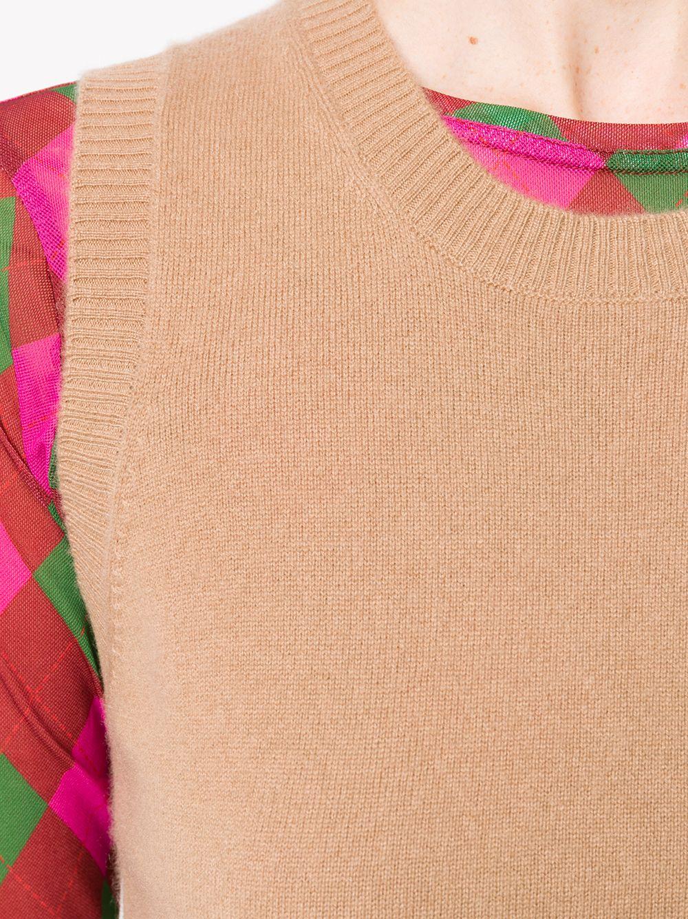Camel brown cashmere knit tank top  P.A.R.O.S.H. |  | D510896-WAZE006