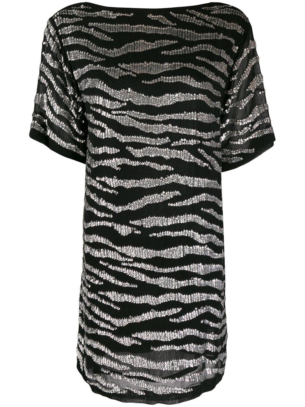 short black zebra stripes dress with sequins P.A.R.O.S.H.      D720902-GEBRA857
