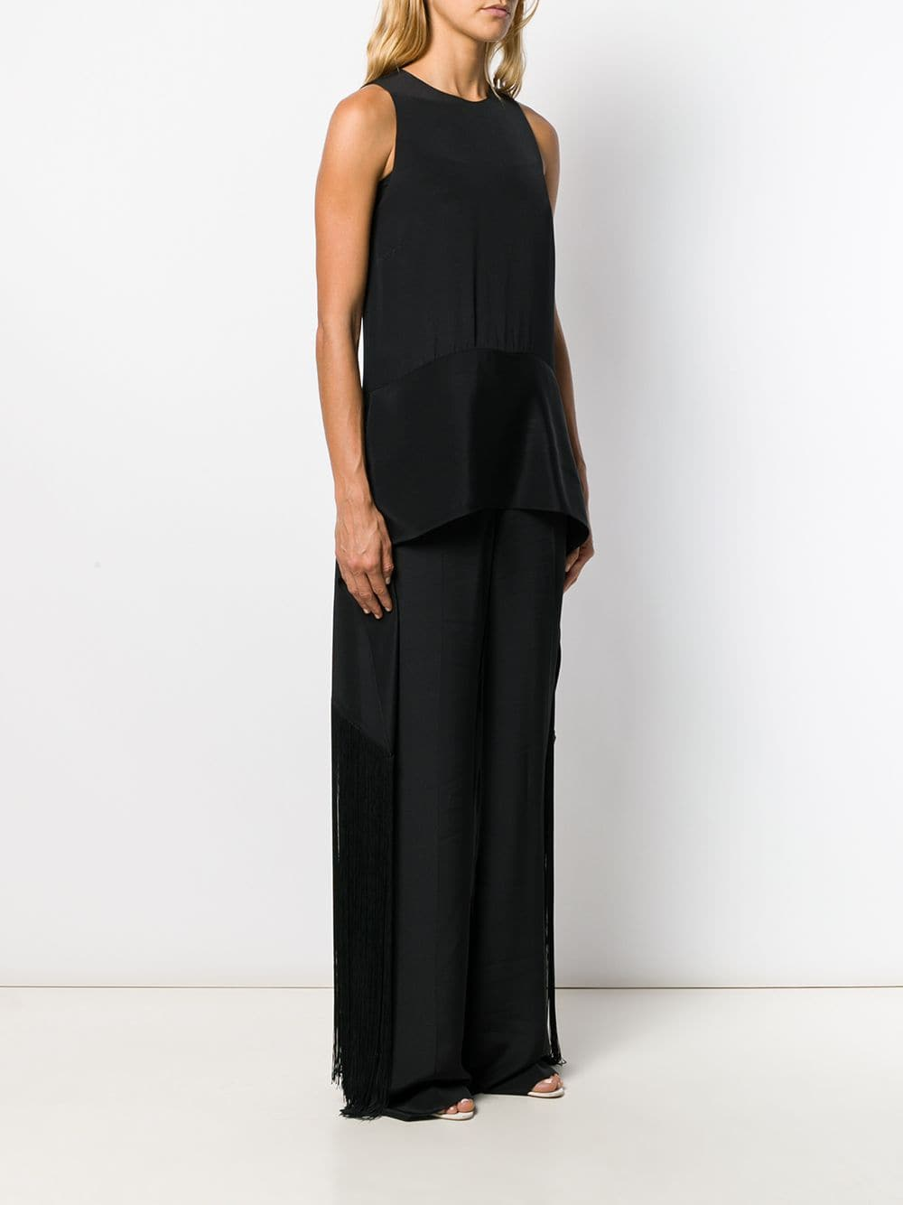 black sleveless silk jumpsuit with side fringed detail STELLA MC CARTNEY |  | 579217-SLA031000