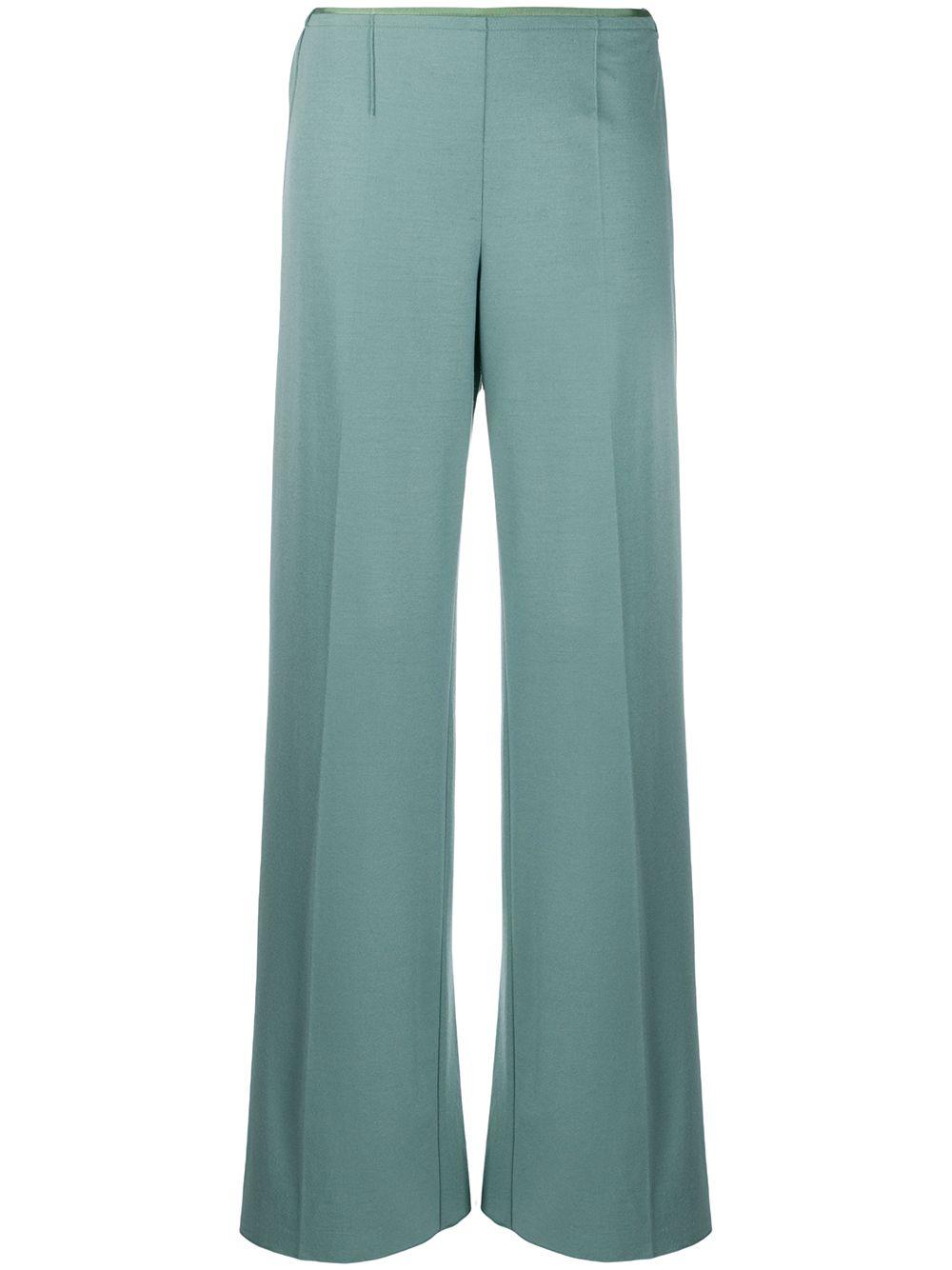 Blue virgin wool blend low-waist straight trousers  FORTE_FORTE |  | 6738CARTA ZUCCHERO