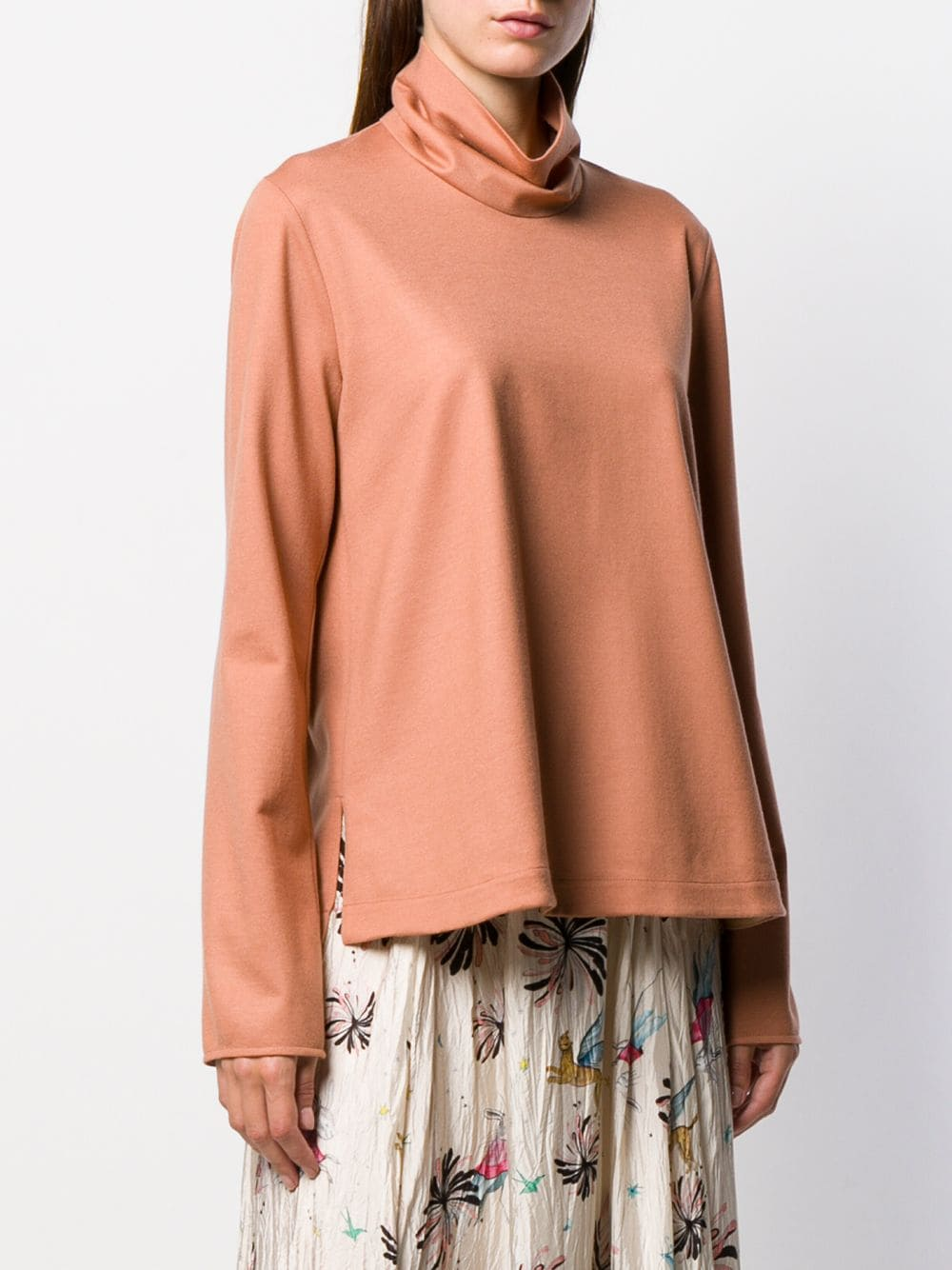 Camel brown virgin wool ruffled-neck sweater  FORTE_FORTE |  | 6740CAMEO