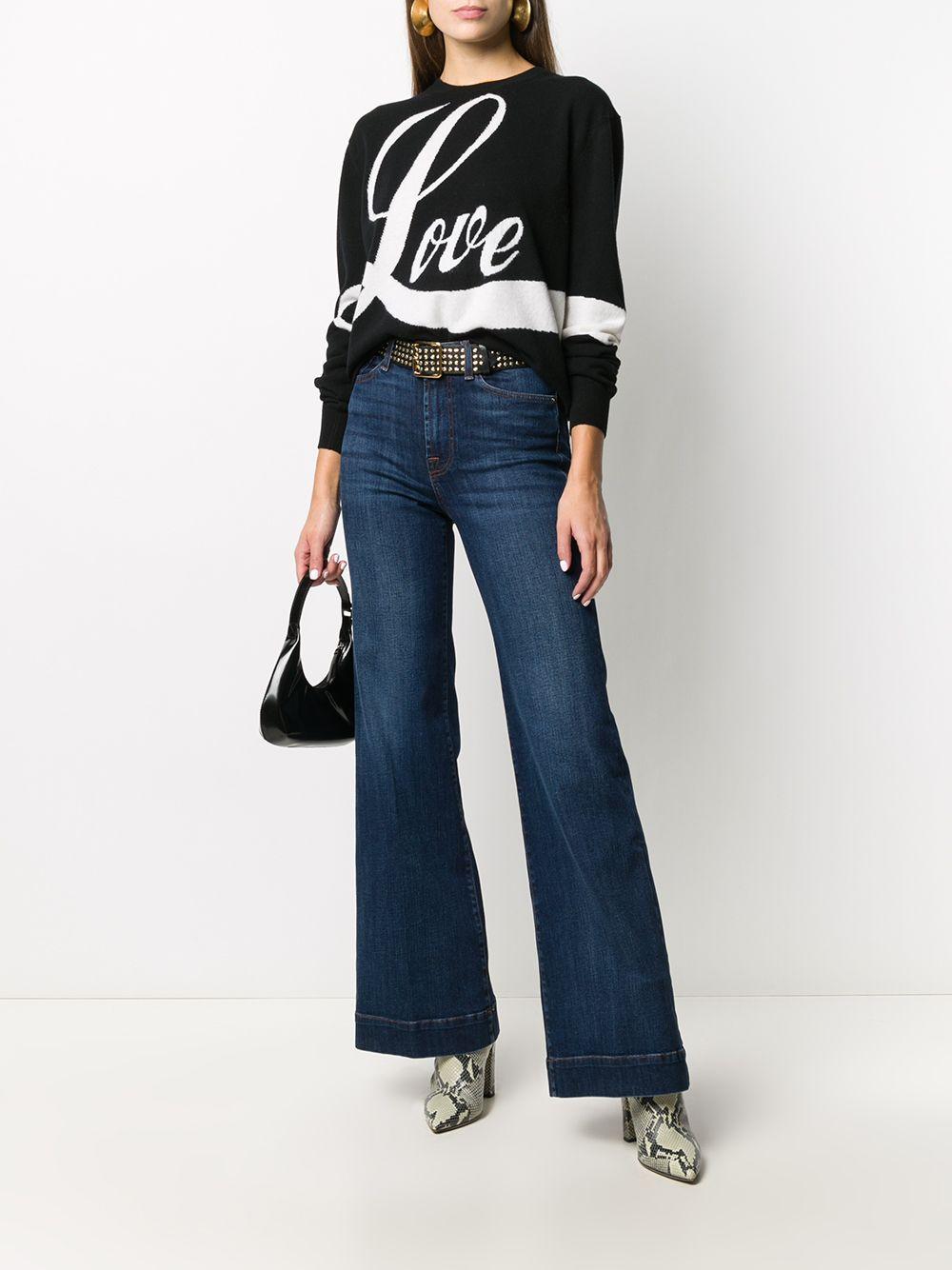 Jeans blu svasati a vita alta in misto cotone con effetto stonewashed 7 FOR ALL MANKIND | Jeans | JSWD44A0DN-MODERN DOJODARK BLUE