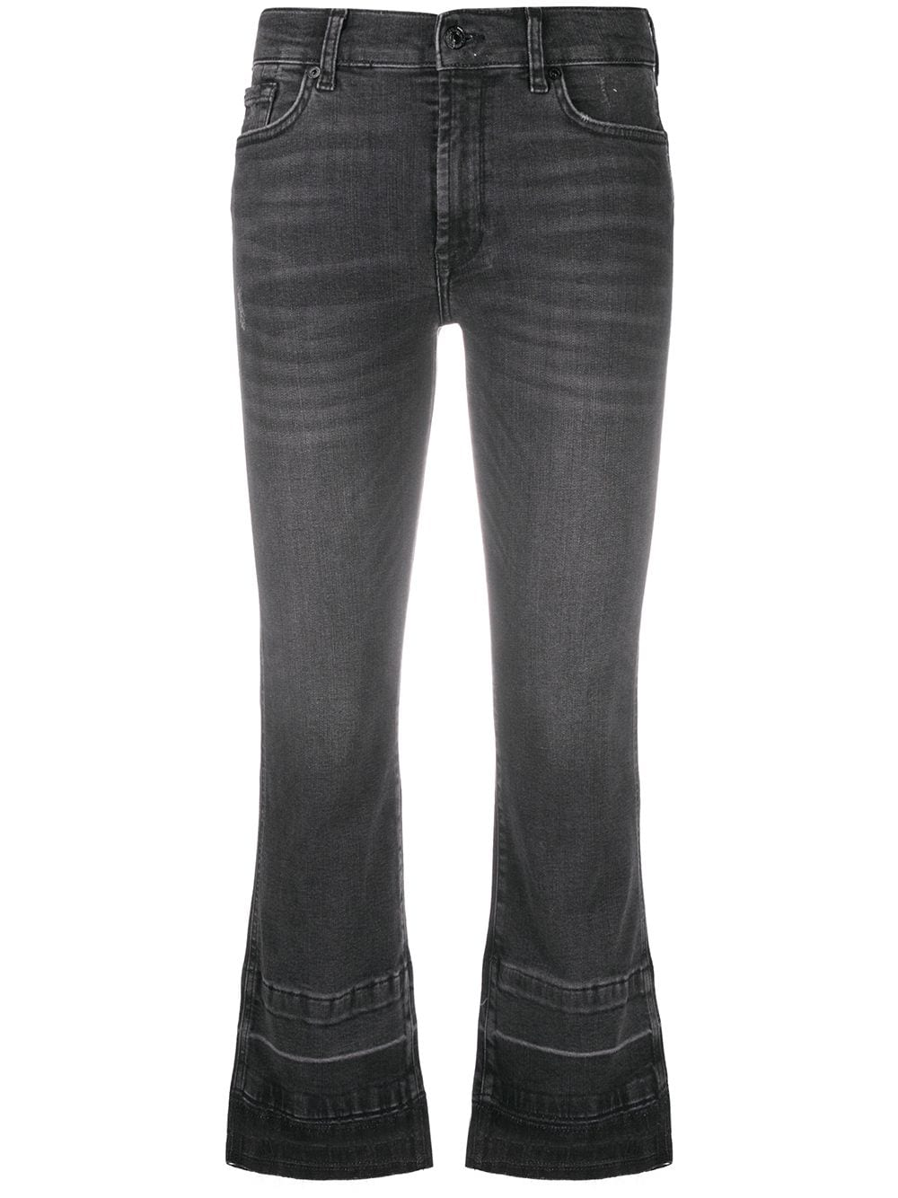 Black stretch cotton denim Illusion cropped bootcut jeans 7 FOR ALL MANKIND      JSYRB260SE-CROPPED BOO UNROLLETBLACK