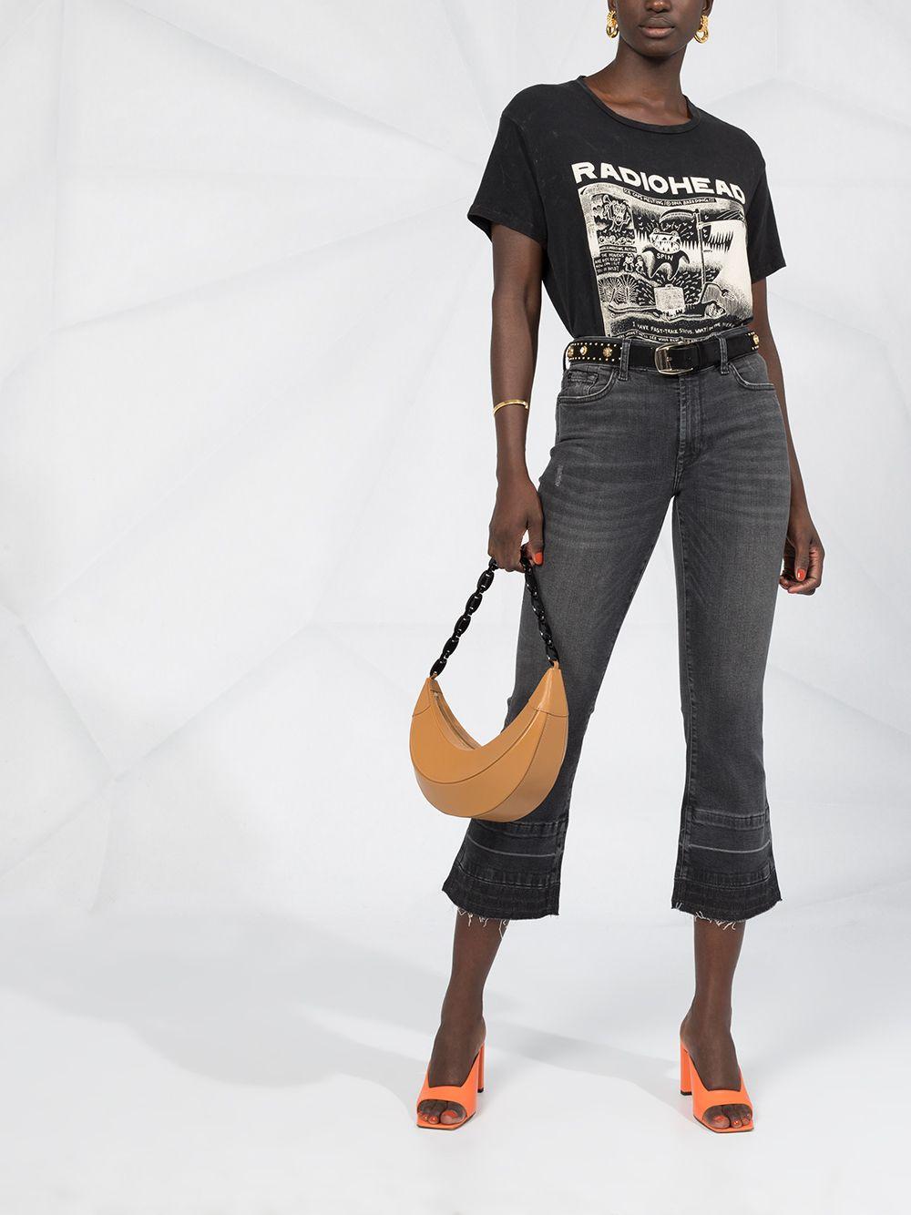 Jeans bootcut cropped Illusion in denim di cotone stretch nero con effetto sbiadito 7 FOR ALL MANKIND | Jeans | JSYRB260SE-CROPPED BOO UNROLLETBLACK
