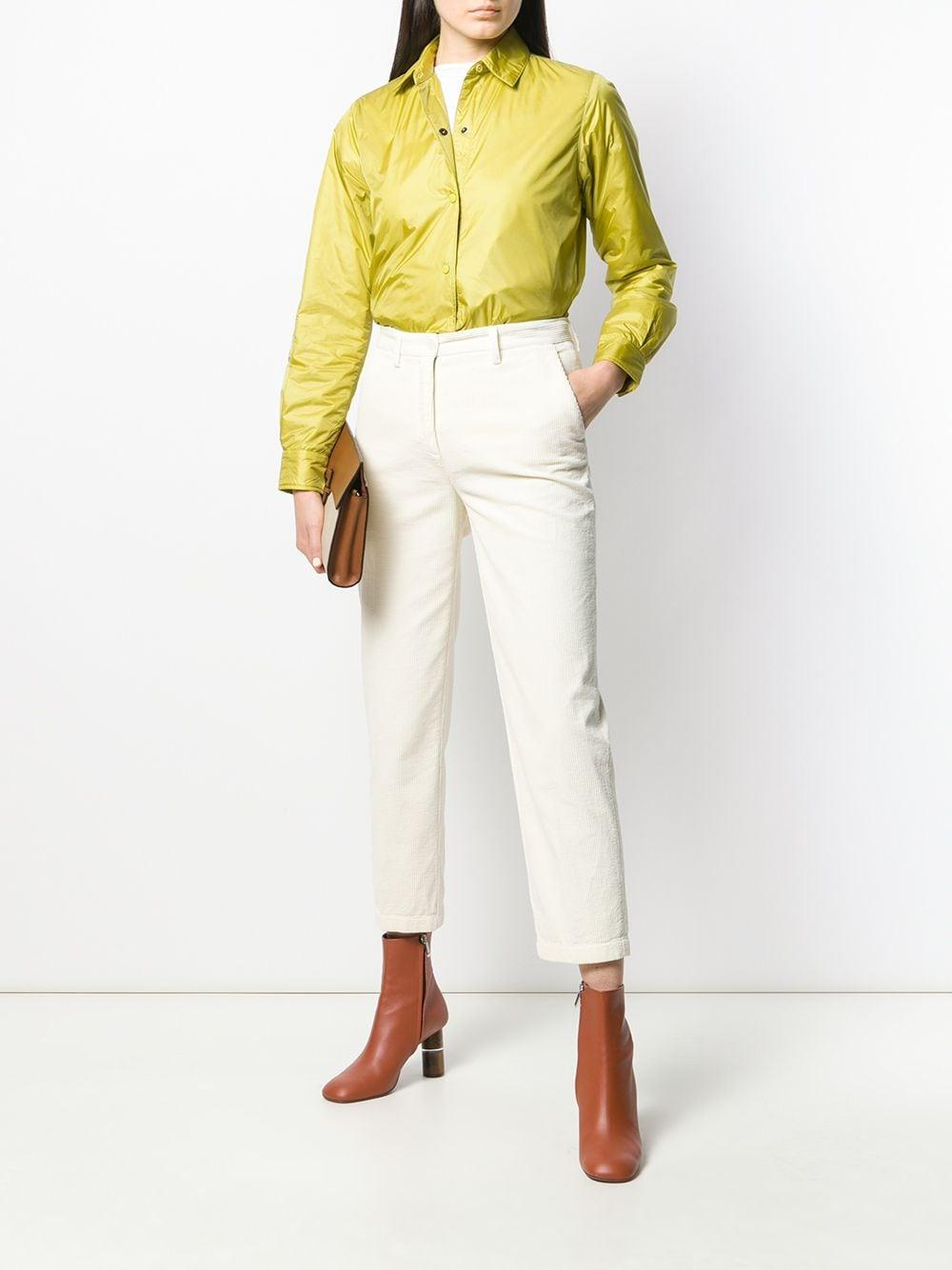 Pantaloni cropped in velluto a coste di cotone bianco avorio con vita media ALBERTO ASPESI | Pantaloni | 0101-E79285071
