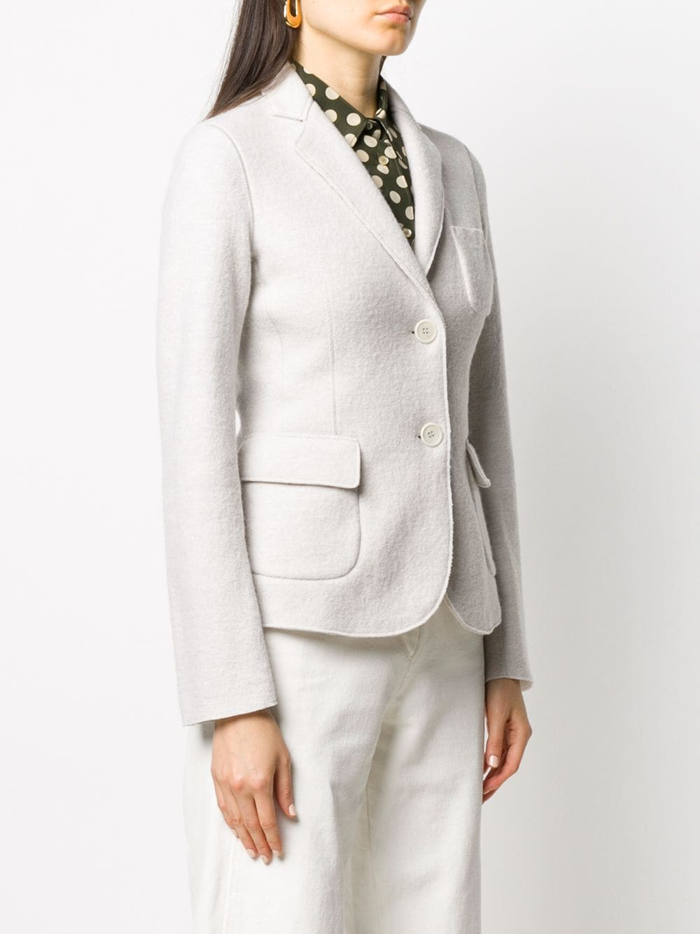 Light grey wool fitted blazer featuring notched lapels ALBERTO ASPESI |  | 0933-526851044