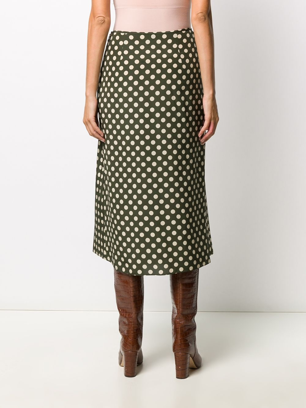 Army green and cream white silk polka dot skirt   ALBERTO ASPESI |  | 2204-A32355237