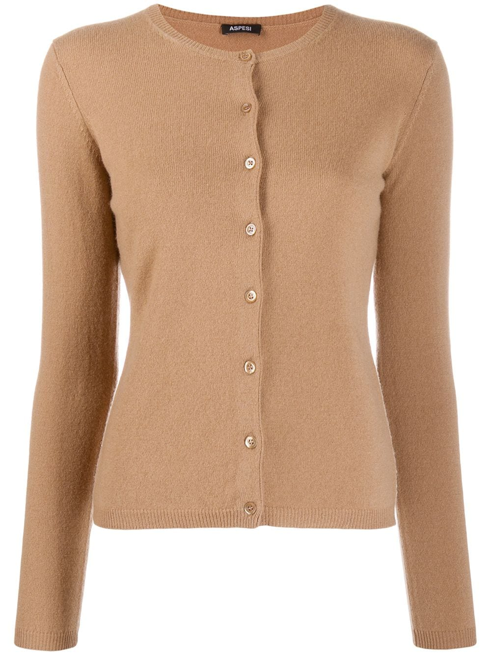 Brown cashmere slim-fit cardigan featuring a ribbed round neck ALBERTO ASPESI |  | 3355-456701088