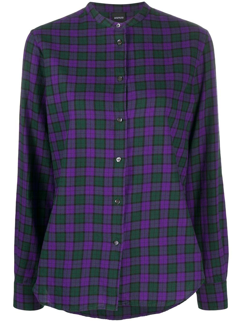 Camicia a quadri con collo a fascia in cotone viola e verde ALBERTO ASPESI   Camicie   5415-E70545400