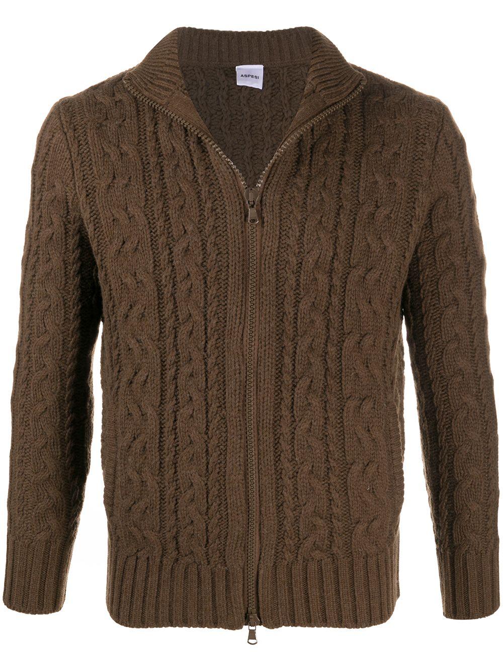 Maglione con zip in lana marrone seppia con lavorazione a trecce ALBERTO ASPESI   Cardigan   M352-396501223
